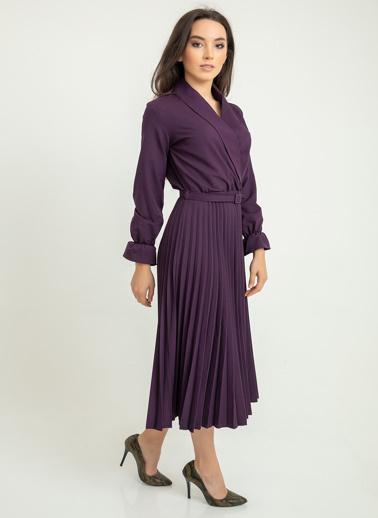 Foremia Atlas Piliseli Ceket Yaka Elbise Uzun Kol Mor